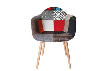 Replica Eames DAW Hal Inspired Chair | Multicoloured Patches V2 Fabric Seat | Natural Beech Legs