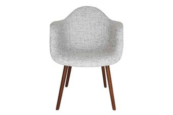 Replica Eames DAW Hal Inspired Chair | Textured Light Grey Fabric Seat | Walnut Legs