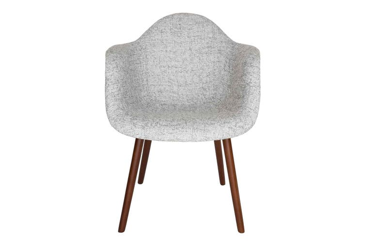 Replica Eames DAW Hal Inspired Chair | Textured Light Grey Fabric Seat | Walnut Legs