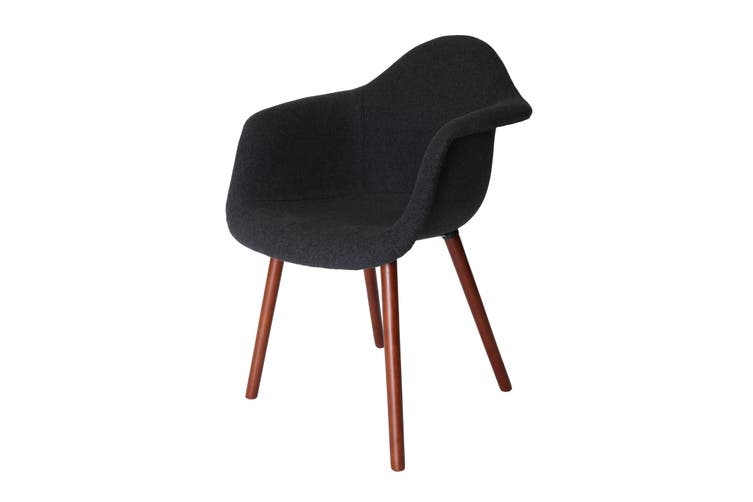 Replica Eames DAW Hal Inspired Chair | Grey / Charcoal Fabric Seat | Walnut Legs