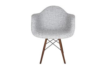 Replica Eames DAW Eiffel Chair | Textured Light Grey Fabric Seat | Walnut Legs