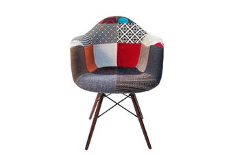Replica Eames DAW Eiffel Chair | Multicoloured Patches V2 Fabric Seat | Walnut Legs