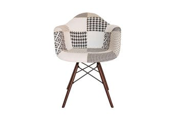 Replica Eames DAW Eiffel Chair | Multicoloured Patches V3 Fabric Seat | Walnut Legs