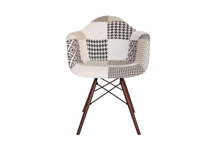 Replica Eames DAW Eiffel Chair   Multicoloured Patches V3 Fabric Seat   Walnut Legs