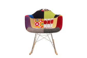 Replica Eames RAR Rocking Chair | Multicoloured Patches V1 Fabric Seat