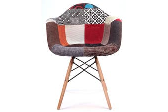 Replica Eames DAW Eiffel Chair | Multicoloured Patches V2 Fabric Seat | Natural Wood Legs