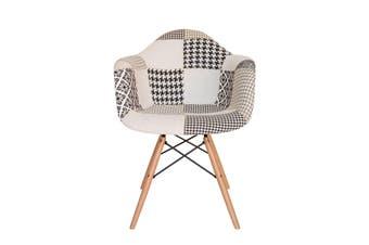 Replica Eames DAW Eiffel Chair   Multicoloured Patches V3 Fabric Seat   Natural Wood Legs