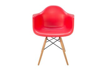 Replica Eames DAW Eiffel Chair | Natural Wood Legs | Red