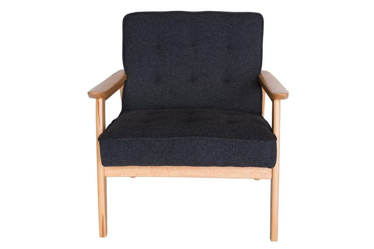 Replica Hans Wegner Plank Arm Chair | Grey / Charcoal Fabric & Natural Beech Frame