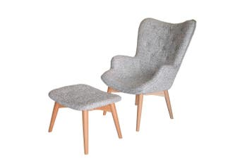 Replica Grant Featherston Contour Lounge Chair & Ottoman   Textured Light Grey Fabric   Natural Legs