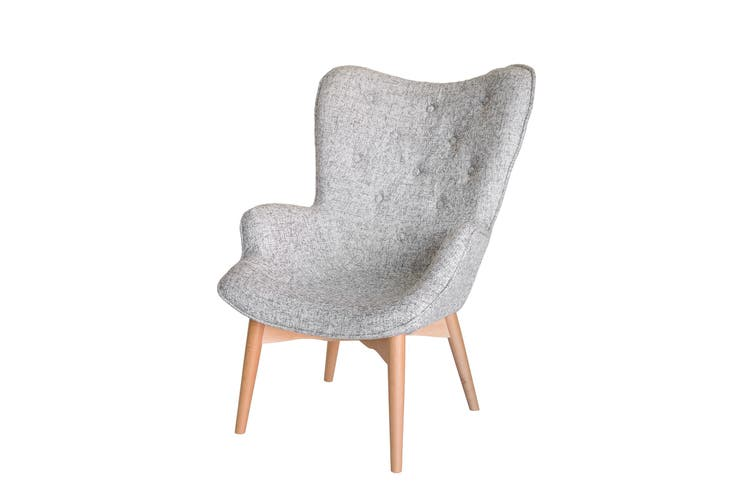 Replica Grant Featherston Contour Lounge Chair | Textured Light Grey Fabric | Natural Legs
