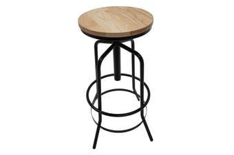 Vega Industrial Stool   Natural Wood Seat   Black