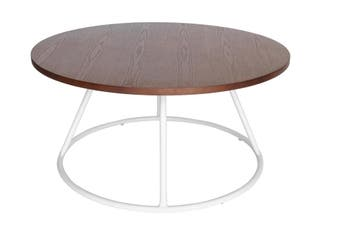 Soho Round Wood Coffee Table   White & Walnut
