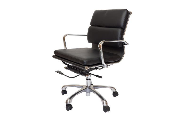 Eames Inspired Low Back Soft Pad Management Desk / Office Chair | Black