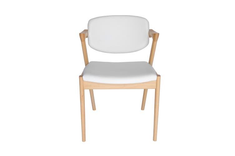 Replica Kai Kristiansen #42 Leather Dining Chair   Natural & White