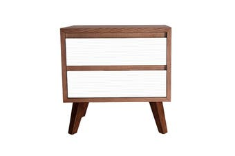 Lars Bedside Table | Walnut & White
