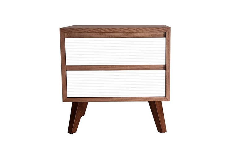 Lars Bedside Table | Walnut & White