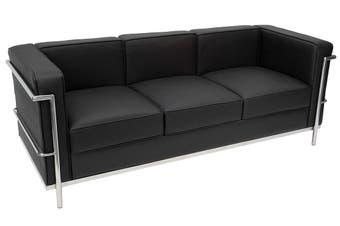 Replica Le Corbusier Lounge Chair 3 Seat | Black