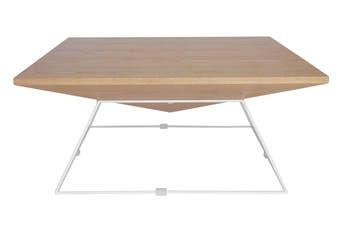 Mos Square Coffee Table   White & Natural