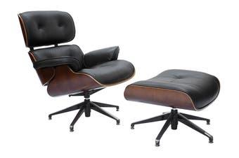 Replica Eames Lounge Chair | 5 Star Ottoman | Black