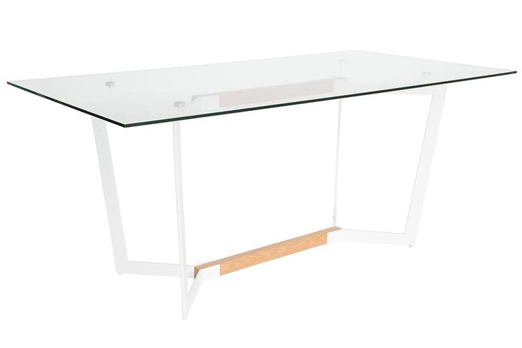Delta Collection   Rectangular Glass Dining Table   White & Natural   180cm