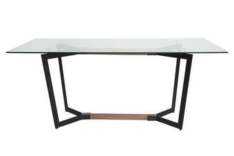 Delta Collection | Rectangular Glass Dining Table | Matte Black & Walnut | 180cm