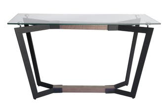 Delta Collection | Rectangular Glass Console Table | Matte Black & Walnut