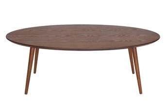 Stockholm Oval Wood Coffee Table   Walnut