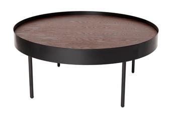 Lunar Round Coffee Table | Black & Walnut