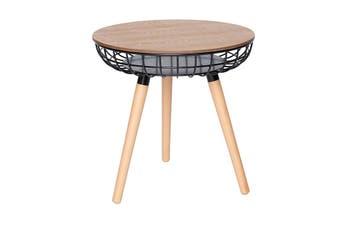 Massa Round Side Table | Black & Natural