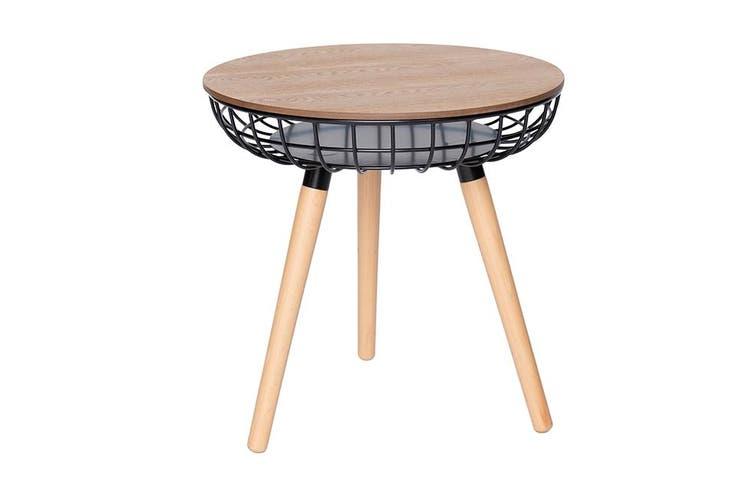 Massa Round Wood Side Table Black Natural Matt Blatt