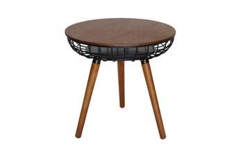 Massa Round Side Table | Black & Walnut