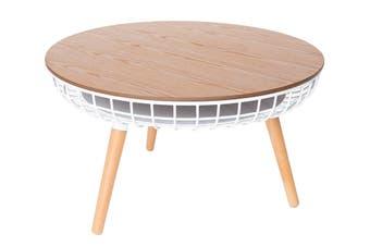 Massa Round Coffee Table   White & Natural