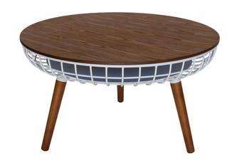 Massa Round Coffee Table   White & Walnut