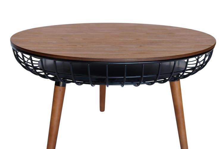 Massa Round Coffee Table | Black & Walnut