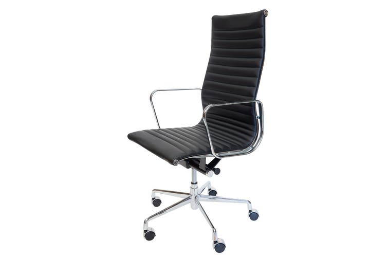 Replica Eames High Back Ribbed Leather Executive Desk / Office Chair   Black