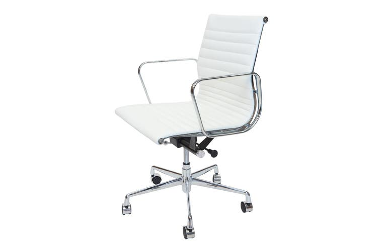 Replica Eames Low Back Ribbed Leather Management Desk / Office Chair   White