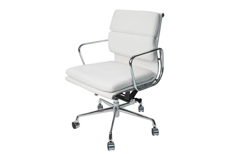 Replica Eames Low Back Soft Pad Management Desk / Office Chair | White