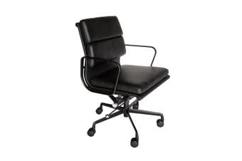 Replica Eames Low Back Soft Pad Management Desk / Office Chair | All Black