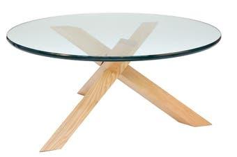 Replica Petar Zaharinov Puzzle Round Glass Coffee Table   Natural