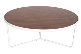 Luna Round Coffee Table   Matte White & Walnut