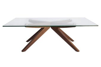 Amber Collection | Rectangular Glass Coffee Table | Walnut
