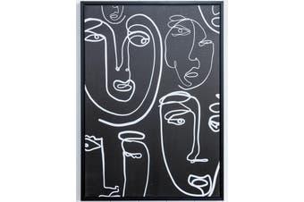 Face Line Drawing 2 | Black & White | Floating Frame Artwork | 50 x 70cm