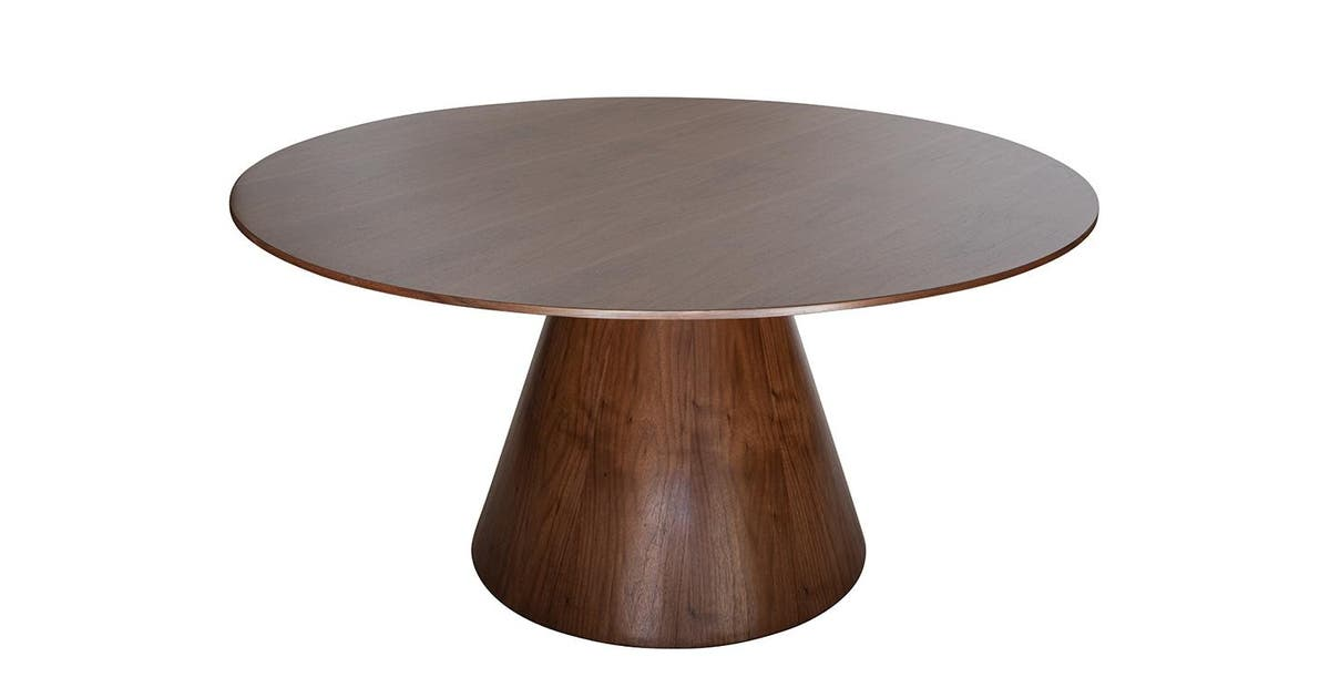 Theo Round Wood Dining Table Walnut 150cm Matt Blatt