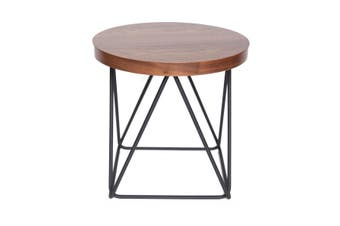 Oslo Round Side Table | Matte Black & Walnut