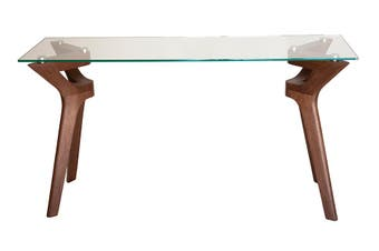 Murf Collection | Rectangular Glass Console Table | Walnut