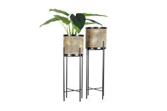 Set of 2   Nested Misty Rattan-Look Pot Planter   Black & Natural