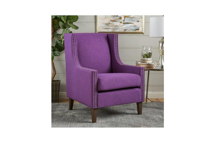Cecilia CLASSIC STUDDED Purpe WINGBACK CLUB ARMCHAIR