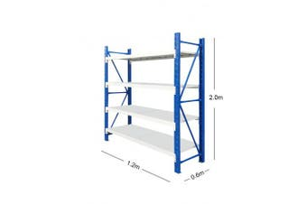 1.2M x 2M Metal Heavy Duty Shelving (Blue & Grey)