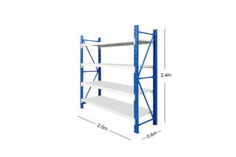 2M x 2.4M Metal Heavy Duty Shelving (Blue & Grey)